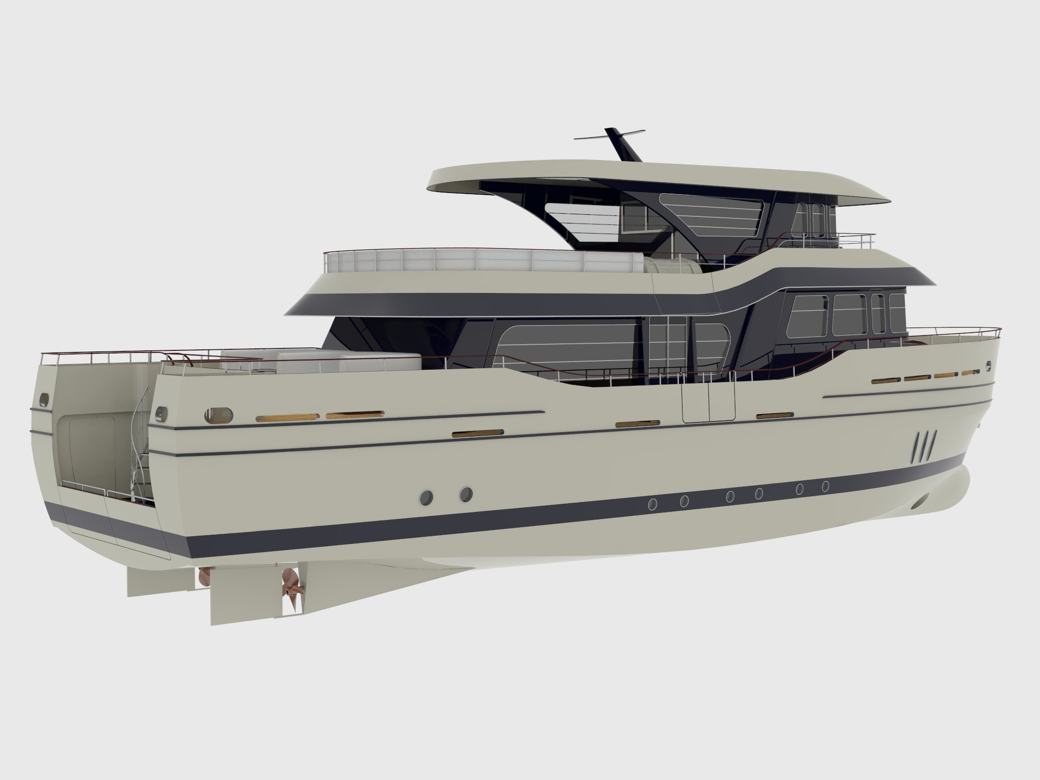 24m fishing motor boat - perspective view 3