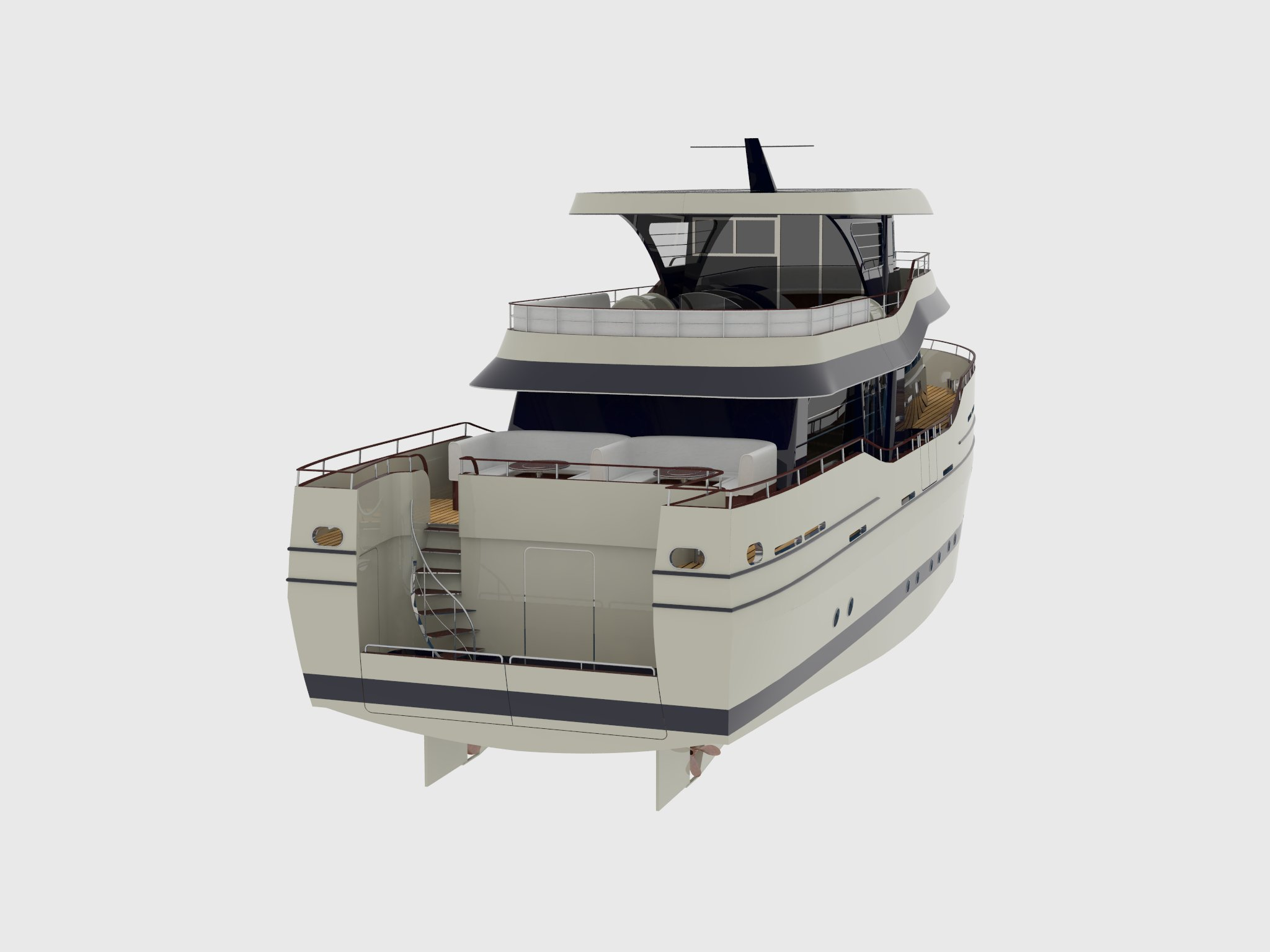 24m fishing motor boat - perspective view 4